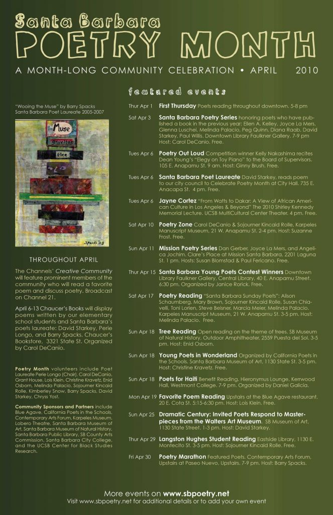2010 Santa Barbara Poetry Month Poster (design by Chryss Yost, detail of painting by Barry Spacks)