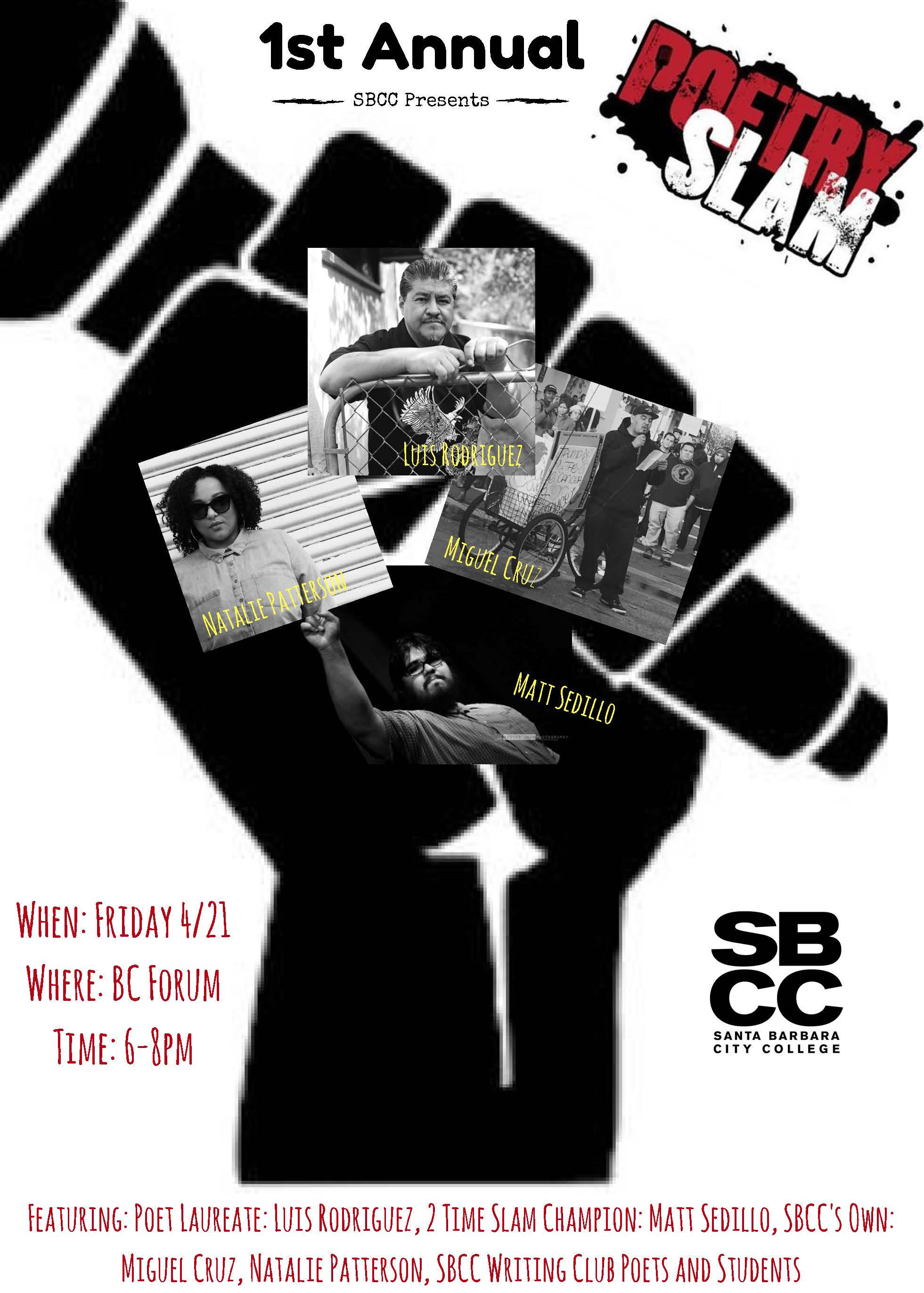 SBCC Poetry Slam featuring Luis Rodriguez, Natalie Patterson, and others