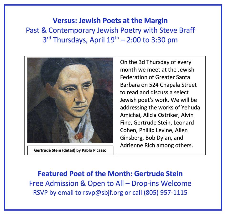 Versus: Jewish Poets at the Margin (class): Gertrude Stein