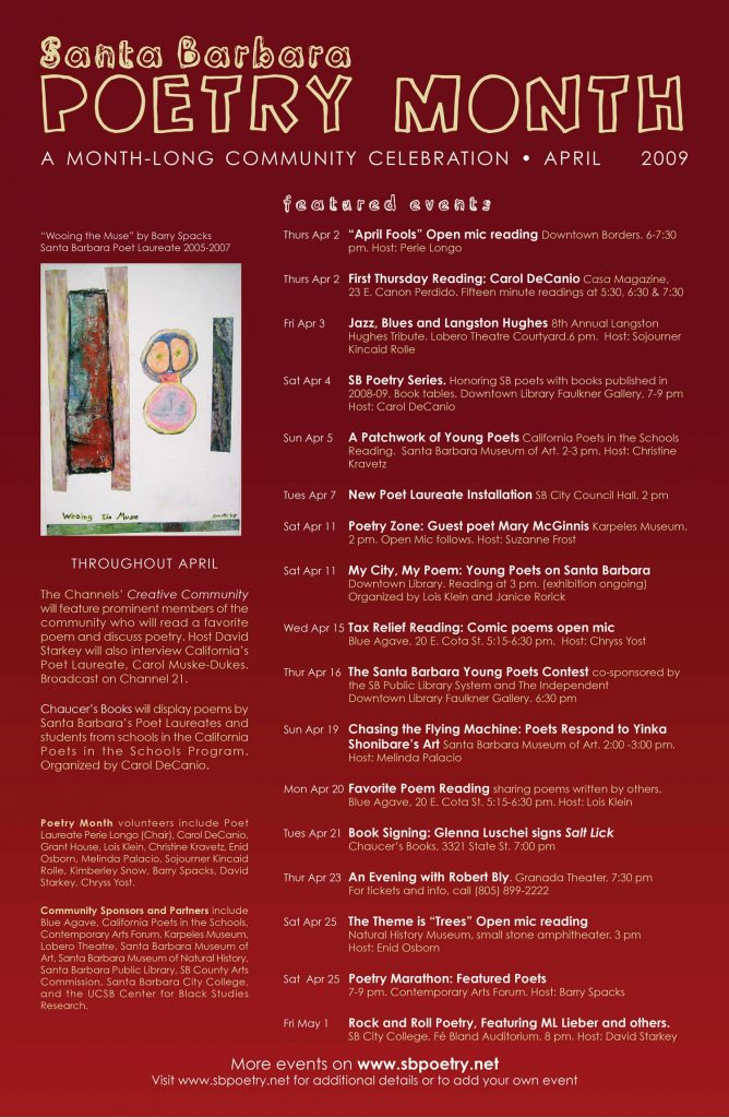 2009 Santa Barbara Poetry Month Poster (design by Chryss Yost, detail of painting by Barry Spacks)
