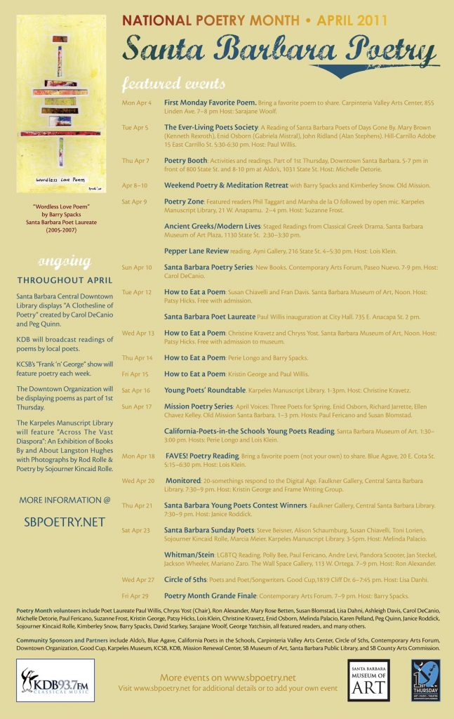 2011 Santa Barbara Poetry Month Poster (design by Chryss Yost, detail of painting by Barry Spacks)