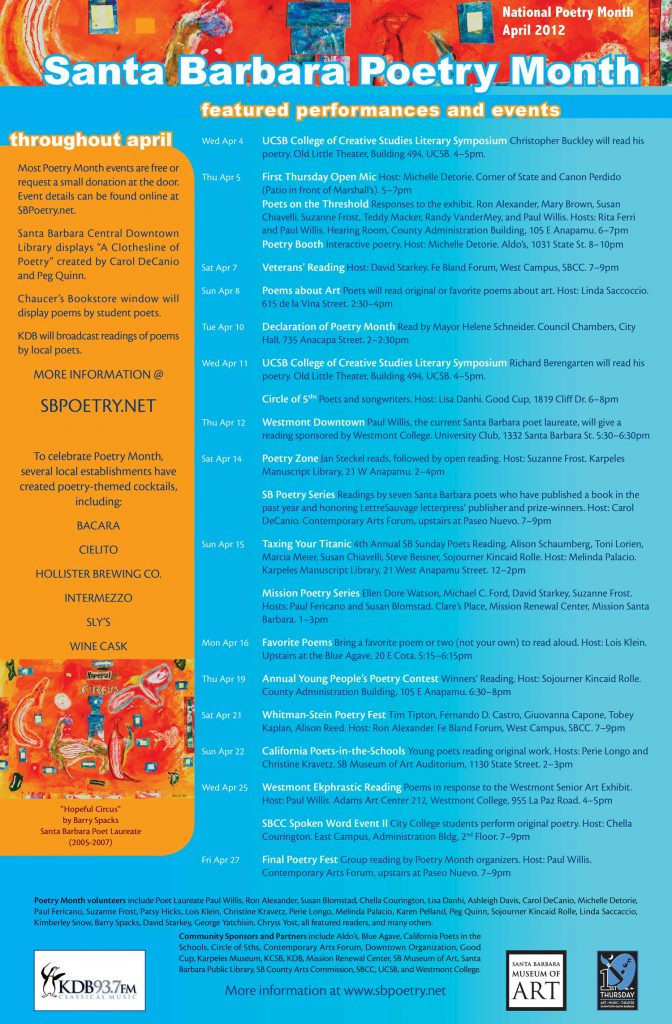 2012 Santa Barbara Poetry Month Poster (design by Chryss Yost, detail of painting by Barry Spacks)