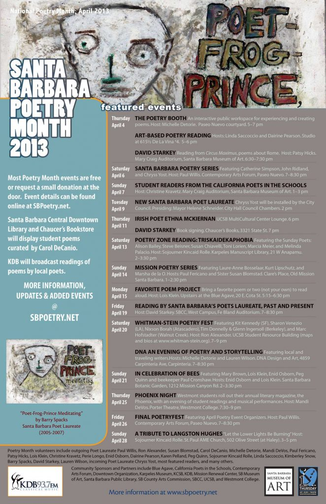 2013 Santa Barbara Poetry Month Poster (design by Chryss Yost, detail of painting by Barry Spacks)