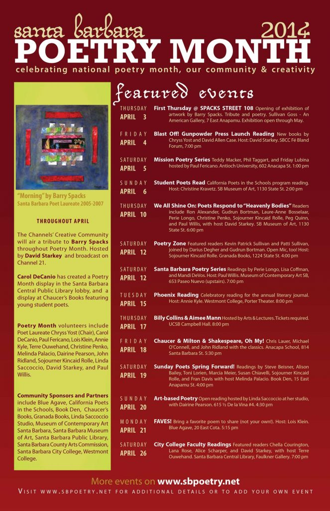2014 Santa Barbara Poetry Month Poster (design by Chryss Yost, detail of painting by Barry Spacks)
