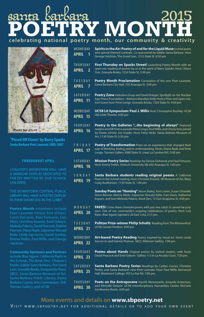 2015 Santa Barbara Poetry Month Poster (design by Chryss Yost, detail of painting by Barry Spacks)